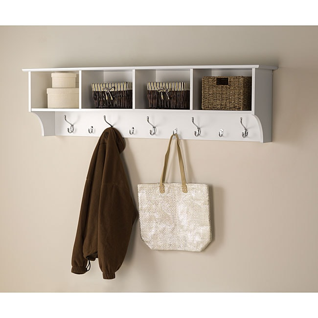 Winslow White Hanging 60 Inch Wide Entryway Shelf