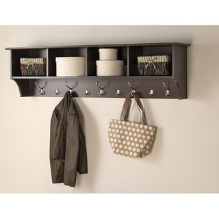 Everett Espresso 60-inch Wide Hanging Entryway Shelf