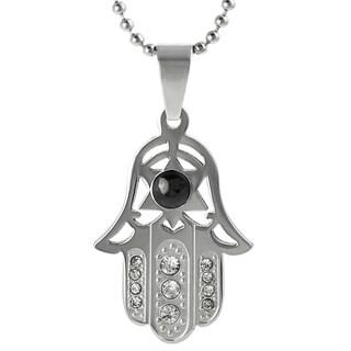 Journee Collection Stainless Steel Cubic Zirconia Hamsa Necklace