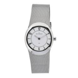 Skagen Women's Oval Case White Dial Stainless Steel Watch