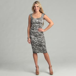 London Times Women's Printed Stretch Satin Dress