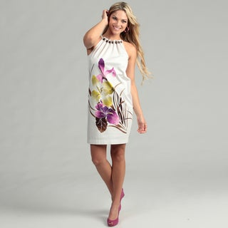 London Times Women's Cotton Halter Top with Wood Bead Collar Floral Print Dress