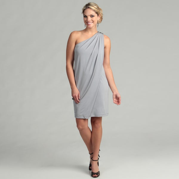 London Times Women's One Shoulder Shiny Jersey Dress