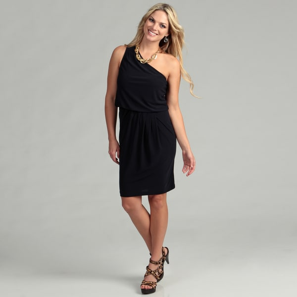 London Times Women's Black One Shoulder Dress