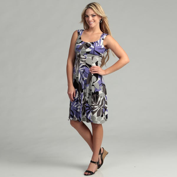 London Times Matte Jersey Abstract Print Dress