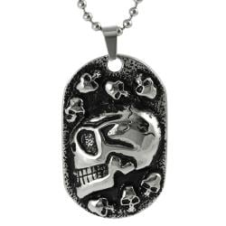 Journee Collection Stainless Steel Skulls Tag Necklace
