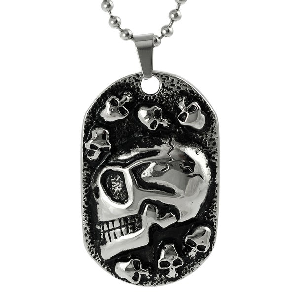 Vance Co. Stainless Steel Skulls Tag Necklace