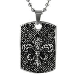 Journee Collection Stainless Steel Fleur de Lis Tag Necklace