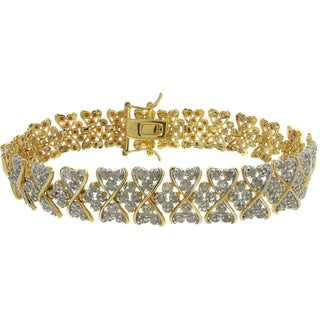 Finesque 18k Gold Overlay 2ct TDW Diamond Heart Bracelet (I-J, I2-I3)