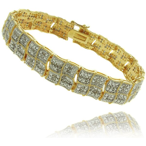 Finesque 18K Gold Overlay 2Ct TDW Diamond Square Wave Bracelet 9117571