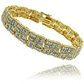 Finesque 18k Gold Overlay 2ct TDW Diamond Square Wave Bracelet (I-J, I2-I3)