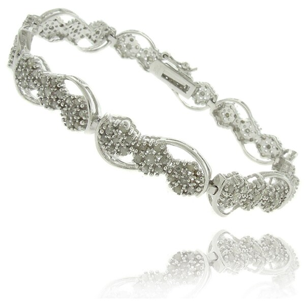Finesque Silverplated 2ct TDW Diamond Flower Link Bracelet 9117572