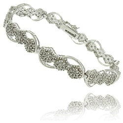 Finesque Silver Overlay 2ct TDW Diamond Flower Link Bracelet (I-J, I2-I3)