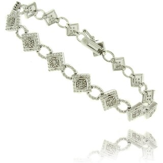 Finesque Silver Overlay 1/2ct TDW Diamond Geometric Bracelet (I-J, I2-I3)