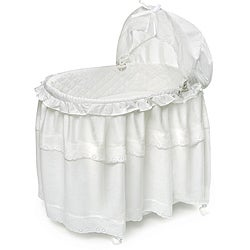 Badger Basket 2-in-1 White Batiste Bassinet and Toy Box