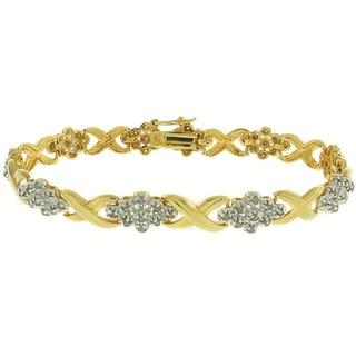 Finesque 18k Gold Overlay 1ct TDW Diamond Flower Bracelet (I-J, I2-I3)