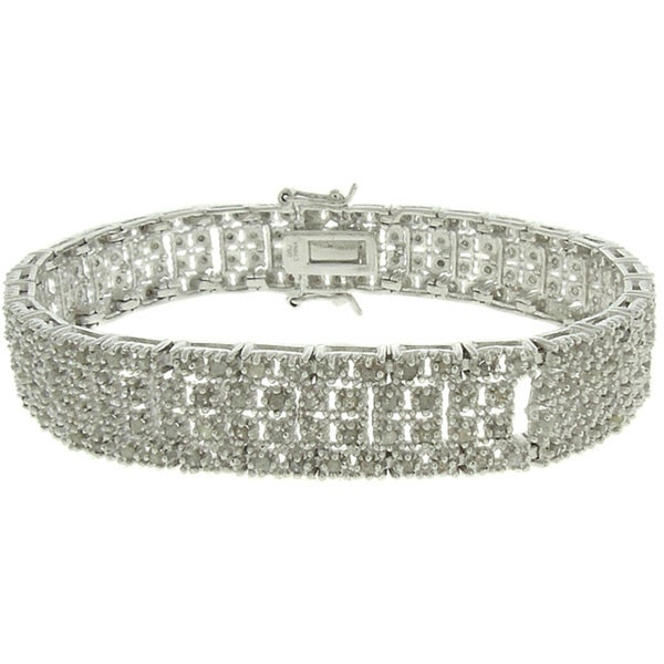 Finesque Silverplated 2ct TDW Diamond Square Link Bracelet 9117583