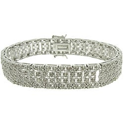 Finesque Silver Overlay 2ct TDW Diamond Square Link Bracelet (I-J, I2-I3)