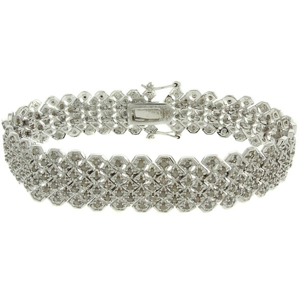 Finesque Silverplated 2ct TDW Diamond Pave Bracelet 9117585
