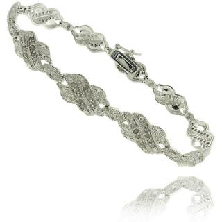 Finesque Silverplated 1ct TDW Diamond Double 'X' Bracelet (I-J, I2-I3)