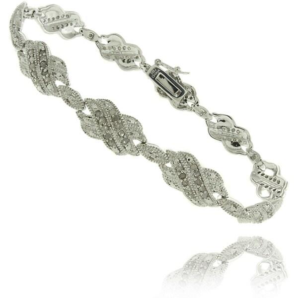Finesque Silverplated 1ct TDW Diamond Double 'X' Bracelet 9117597