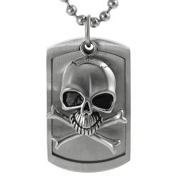 Vance Co. Stainless Steel Moveable Skull Tag Necklace