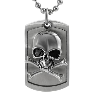 Journee Collection Stainless Steel Moveable Skull Tag Necklace
