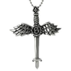 Journee Collection Stainless Steel Winged Sword Necklace