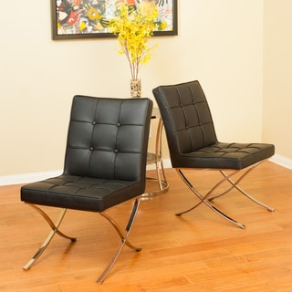 Christopher Knight Home Milania Black Leather Dining Chairs (Set of 2)