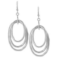 Journee Collection Silvertone Oval-shaped Dangle Earrings