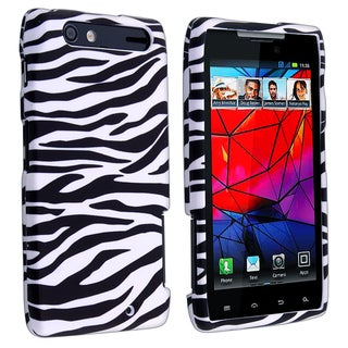 Black/ White Rubber Coated Case for Motorola Droid RAZR XT910/ XT912