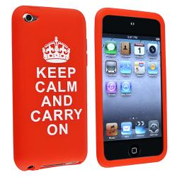 Red Silicone Skin Case with Quote for Apple iPod Touch Generation 4