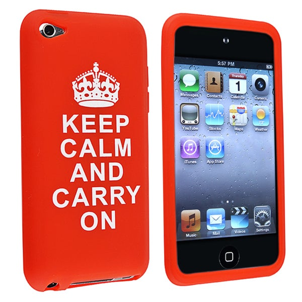 INSTEN Red Soft Silicone Skin iPod Case Cover with Quote for Apple iPod Touch Generation 4