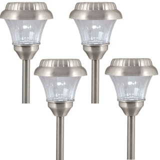 Paradise Solar Powered Stamped Aluminum Path Light Set of 4, Pewter Finish
