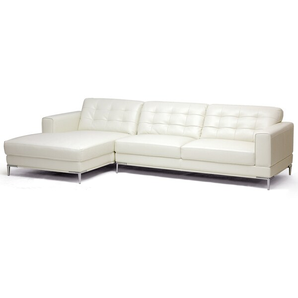 Babbitt Ivory Leather Modern Sectional Sofa 14272376