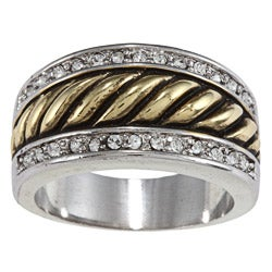 City Style Antique Two-Tone Crystal Pave Rope Band