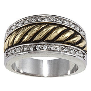 City by City City Style Antique Two-tone Crystal Pave Rope Band