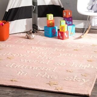 nuLOOM Handmade Kids Lullaby and Stars Wool Rug (5' x 7')