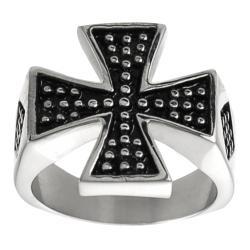 Vance Co. High-Polish Stainless-Steel Men's Pattee Cross Ring