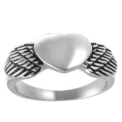Vance Co. Stainless Steel Men's Winged Heart Ring
