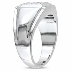 Miadora Sterling Silver Men's 1/5ct TDW White or Black Diamond Ring (H-I, I2-I3)