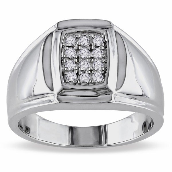 Sterling Silver 1/5ct TDW Men's Diamond Ring (H-I, I2-I3)