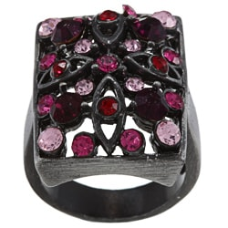 City Style Antique Silvertone Pink Crystal Pave Rectangle Ring