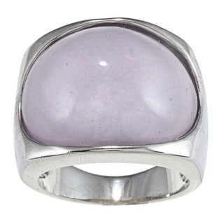 City by City City Style Silvertone Lavender Milky Enamel Fashion Ring