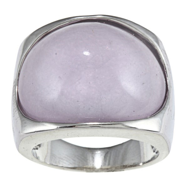 City by City City Style Silvertone Lavender Milky Enamel Fashion Ring