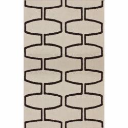 "Contemporary Handmade Luna Flatweave Moroccan Trellis Natural Wool Rug (7'6"" x 9'6"")"