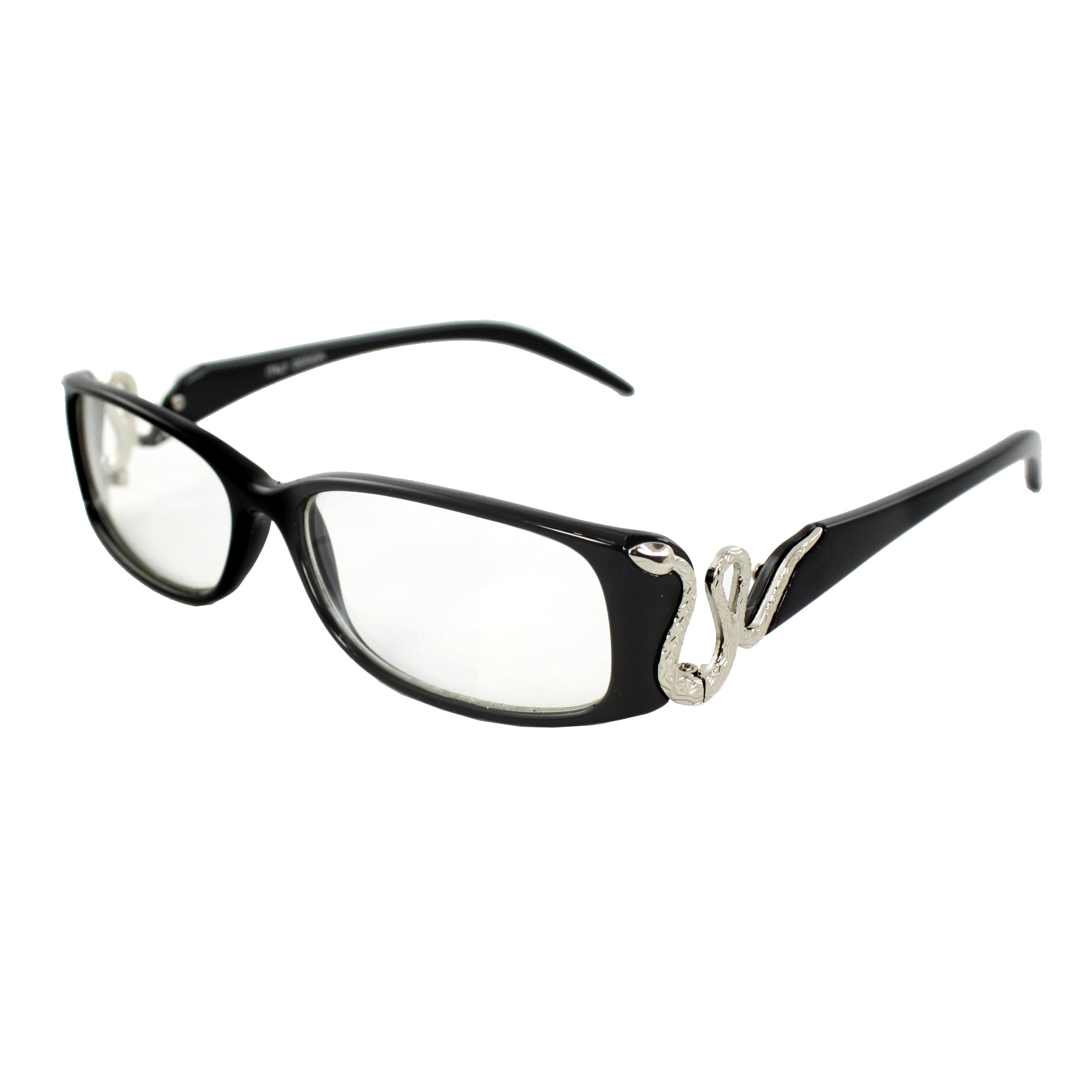 Rectangle Fashion Sunglasses Black Frame Clear Lenses in Stunning Snake Design (can use as optical frame)