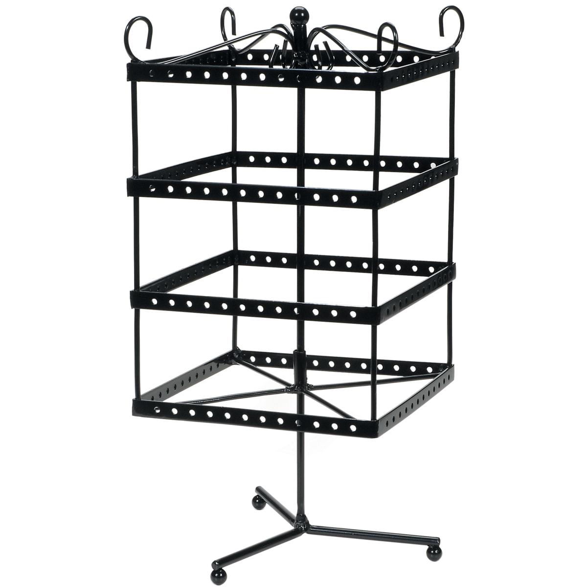 "Black Metal Jewelry Display Shelf 6""X6""X13"""