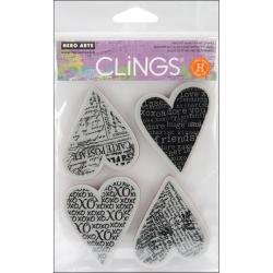 Hero Arts Cling Stamps-Four Hearts