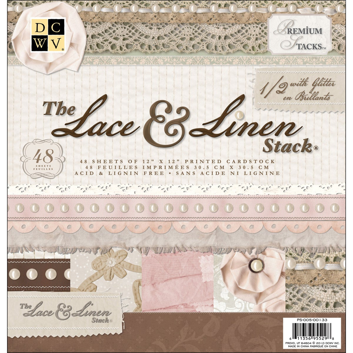 """Lace & Linen Paper Stack 12""""X12""""-48 Sheets"""
